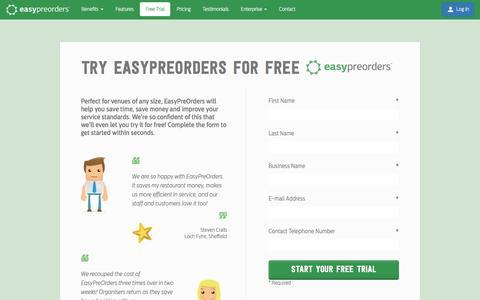 Screenshot of Trial Page easypreorders.com - 1 Month Free Trial | EasyPreOrders.com - captured July 11, 2016
