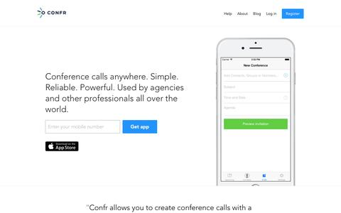Screenshot of Home Page confr.com - Free conference calls | Confr - captured Dec. 11, 2015