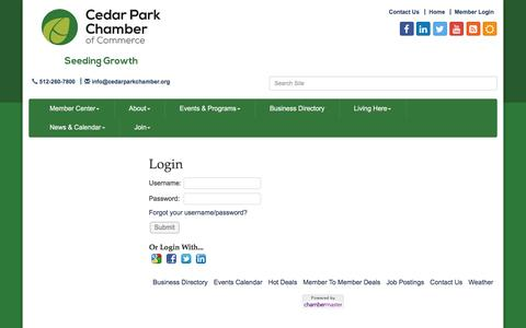 Screenshot of Login Page cedarparkchamber.org - Login - Cedar Park Chamber of Commerce, TX - captured Oct. 28, 2016