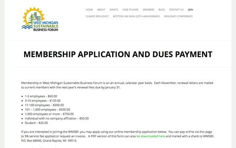 Screenshot of Signup Page wmsbf.org - Membership Application and Dues Payment | West Michigan Sustainable Business Forum - captured Oct. 7, 2014