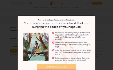 Screenshot of Login Page artcorgi.com - My Account - ArtCorgi - Commission Art Portraits, Cartoons, Anime art, Paintings, and More - captured June 13, 2019