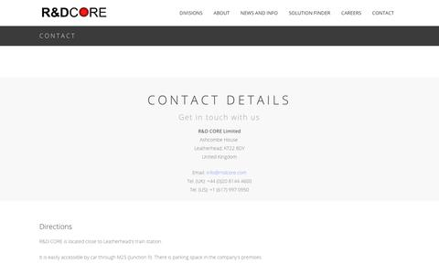 Screenshot of Contact Page rndcore.com - Directions | Page Content - captured Nov. 16, 2018