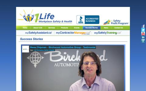 Screenshot of Testimonials Page 1lifeworkplacesafety.com - Success Stories - 1Life Workplace Safety & Health - captured Oct. 27, 2014