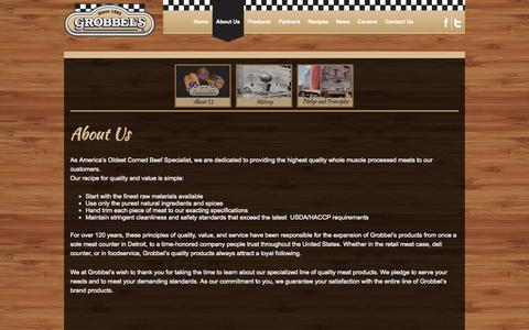 Screenshot of About Page grobbel.com - About Us | Grobbel's, America's Oldest Corned Beef Specialist - captured Oct. 1, 2014