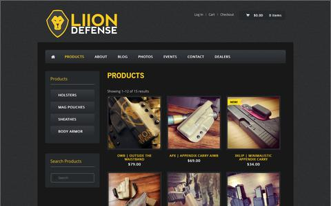 Screenshot of Products Page liiondefense.com - | Products | Liion Defense - captured Sept. 30, 2014