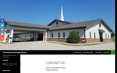 Screenshot of Contact Page cornerstonetopeka.com - Contact Us | Cornerstone Community Church - captured Sept. 4, 2017