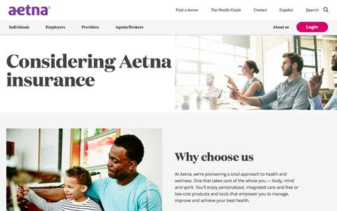 Screenshot of aetna.com - Considering Aetna Insurance - captured April 22, 2018