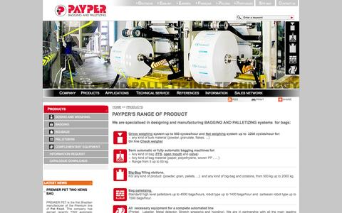 Screenshot of Products Page payper.com - PAYPER - RANGE OF PRODUCT BAGGING AND PALLETIZING SYSTEMS - captured Oct. 1, 2014