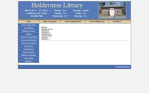 Screenshot of Hours Page holdernesslibrary.org - Holderness Library - Holderness, New Hampshire - captured May 4, 2016