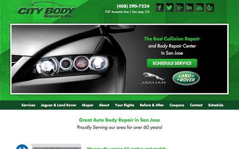Screenshot of Home Page citybodyrepairs.com - Auto Body Shop San Jose, CA | City Body Repairs | Dent Repair | Dent Removal - captured July 21, 2015