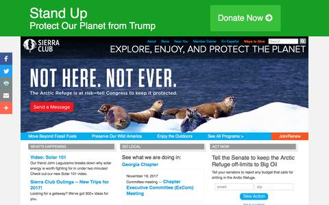 Screenshot of Home Page sierraclub.org - Sierra Club Home Page: Explore, Enjoy, and Protect the Planet - captured Nov. 16, 2017