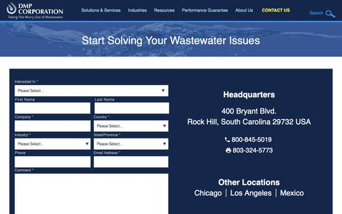 Screenshot of Contact Page dmpcorp.com - Industrial Wastewater Treatment Solutions | Contact DMP - captured Oct. 7, 2018