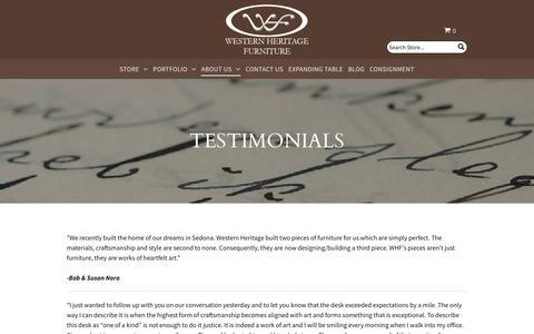 Screenshot of Testimonials Page westernheritagefurniture.com - Western Heritage Furniture -Testimonials - captured Sept. 19, 2018