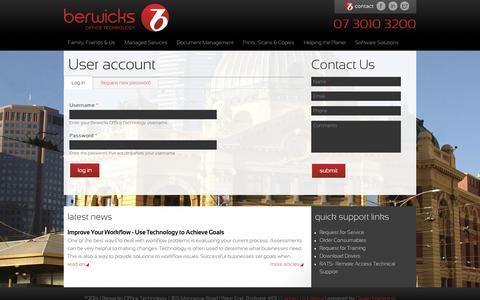 Screenshot of Login Page berwicksoffice.com.au - User account | Berwicks Office Technology - captured Nov. 3, 2014