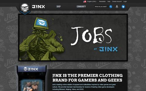 Screenshot of Jobs Page jinx.com - J!NX : Job Openings - captured Sept. 18, 2014