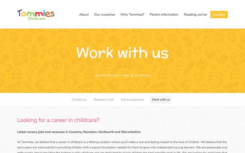 Screenshot of Jobs Page tommieschildcare.co.uk - Nursery Jobs Coventry - Tommies Childcare Careers - captured Oct. 27, 2017