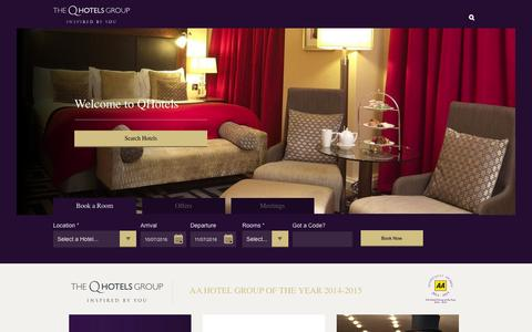 Screenshot of Home Page qhotels.co.uk - 4 star Luxury Hotels - UK Conference, Meeting and Event Venues – QHotels - captured July 9, 2016