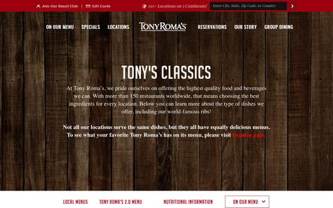 Screenshot of Menu Page tonyromas.com - Main Menu - Tony Roma's Restaurant Tony Roma's Restaurant - captured Sept. 23, 2018
