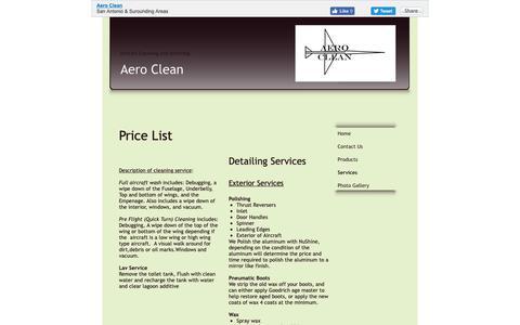 Screenshot of Services Page texasaeroclean.com - Aero Clean - Services - bulverde, TX - captured Oct. 3, 2018