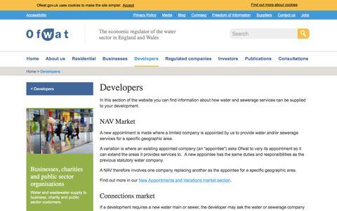 Screenshot of Developers Page ofwat.gov.uk - Developers - Ofwat - captured Sept. 21, 2018