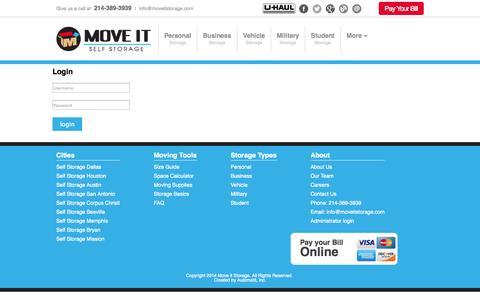 Screenshot of Login Page moveitstorage.com - Login   Move It Self Storage - captured Oct. 6, 2014