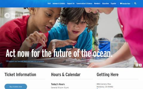 Screenshot of Home Page montereybayaquarium.org - Monterey Bay Aquarium – Official Site - captured Jan. 18, 2019