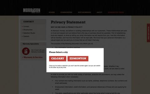 Screenshot of Privacy Page morrisonhomes.ca - Privacy Statement | Morrison Homes - captured Aug. 13, 2016
