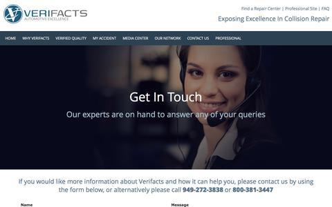 Screenshot of Contact Page verifactsauto.com - Contact Us - captured Feb. 14, 2016