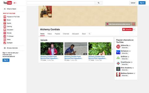 Screenshot of YouTube Page youtube.com - Alchemy Cordials  - YouTube - captured Nov. 2, 2014