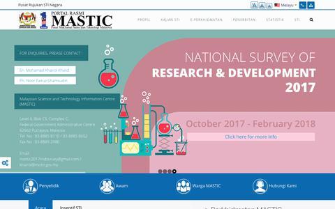 Screenshot of Home Page mastic.gov.my - Portal Rasmi - MASTIC - captured Jan. 26, 2018