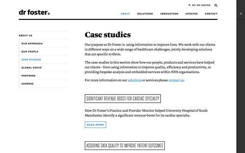 Screenshot of Case Studies Page drfoster.com - Case studies — Dr Foster - captured Oct. 29, 2014
