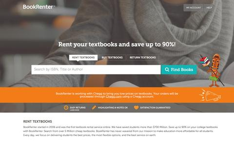 Screenshot of Home Page bookrenter.com - Rent Textbooks | Cheap College Textbook Rentals | BookRenter.com - captured May 10, 2017