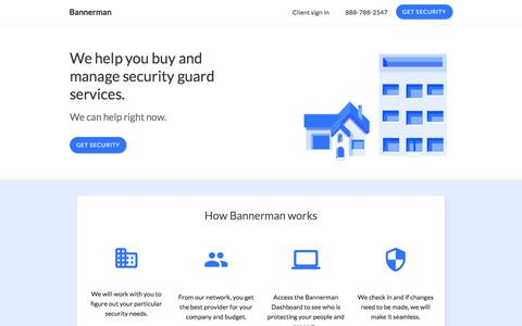 Screenshot of Home Page bannerman.com - Bannerman - We help you buy and manage security - captured June 29, 2018