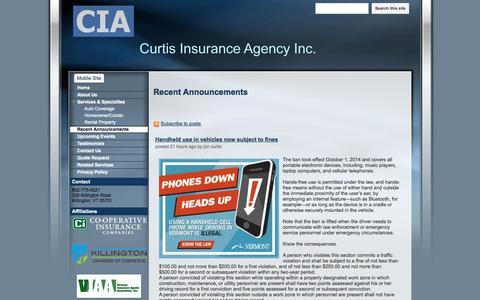 Screenshot of Press Page curtisinsuranceagency.net - Recent Announcements - Curtis Insurance Agency - captured Oct. 3, 2014