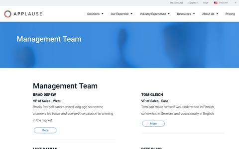 Screenshot of Team Page applause.com - Management Team   Applause - captured Jan. 5, 2017