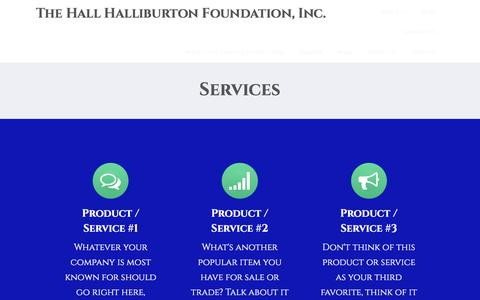 Screenshot of Services Page hallhalliburton.org - Services – The Hall Halliburton Foundation, Inc. - captured Oct. 19, 2016