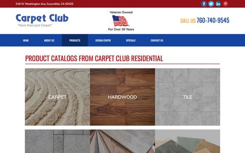 Screenshot of Products Page carpetclub.com - Products - Escondido, CA - Carpet Club Residential - captured May 15, 2017