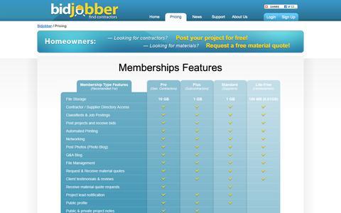 Screenshot of Pricing Page bidjobber.com - Bidjobber – Contractor and Building Owner Membership Pricing and Features Matrix   Bidjobber - captured Oct. 5, 2014