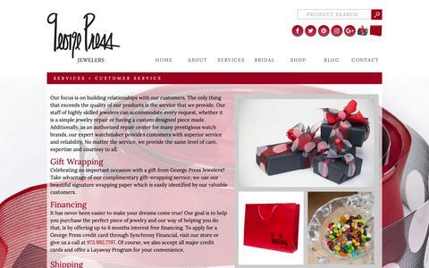 Screenshot of Support Page georgepress.com - Customer Service - George Press - captured Sept. 27, 2018