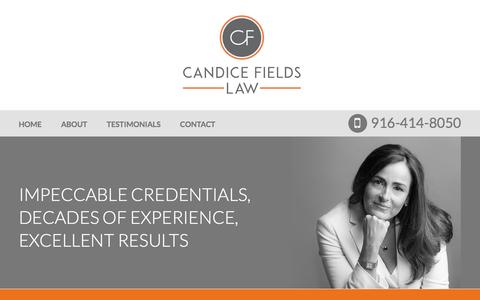 Screenshot of About Page candicefieldslaw.com - About Candice Fields Law | Sacramento Federal Criminal Defense Attorney - captured May 13, 2017