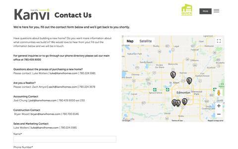 Screenshot of Contact Page kanvihomes.com - Contact Us | Kanvi Homes Edmonton Modern Home Builder - captured Sept. 20, 2018