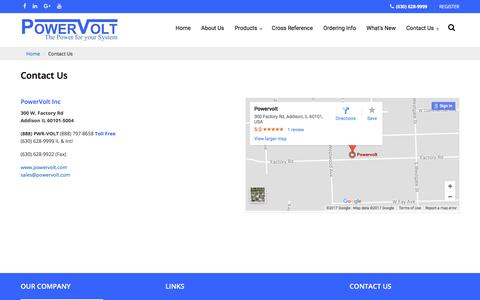 Screenshot of Contact Page powervolt.com - PowerVolt Inc. - captured Aug. 18, 2017