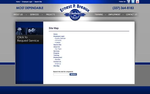 Screenshot of Site Map Page epbreaux.com captured Oct. 2, 2014