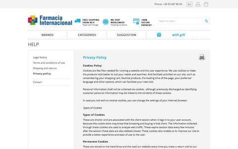 Screenshot of Privacy Page farmacia-internacional.net - Privacy Policy - Farmacia Internacional - captured Sept. 25, 2014