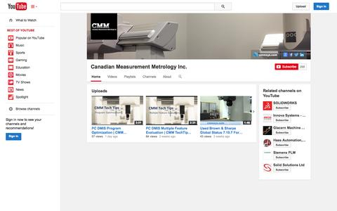 Screenshot of YouTube Page youtube.com - Canadian Measurement Metrology Inc.  - YouTube - captured Oct. 22, 2014
