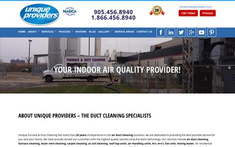 Screenshot of About Page uniqueproviders.com - Duct Cleaning Company - Toronto | Mississauga | Vaughan | Brampton - captured Dec. 3, 2016