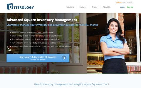 Screenshot of Home Page otterology.com - Advanced Square Inventory Management and Analytics :: Otterology Inventory Management - captured Sept. 17, 2014