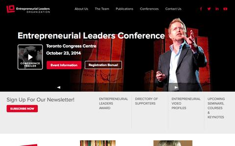 Screenshot of Home Page entrepreneurialleaders.com - Entrepreneurial Leaders Organization - We equip, connect, and inspire Christian leaders - captured Oct. 3, 2014