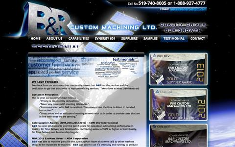 Screenshot of Testimonials Page bandrcustommachining.ca - Welcome to B&R! Quality Drives Our Growth! - captured Oct. 18, 2016