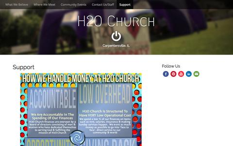 Screenshot of Support Page h2oillinois.com - Support | H2O Church - captured Oct. 1, 2014